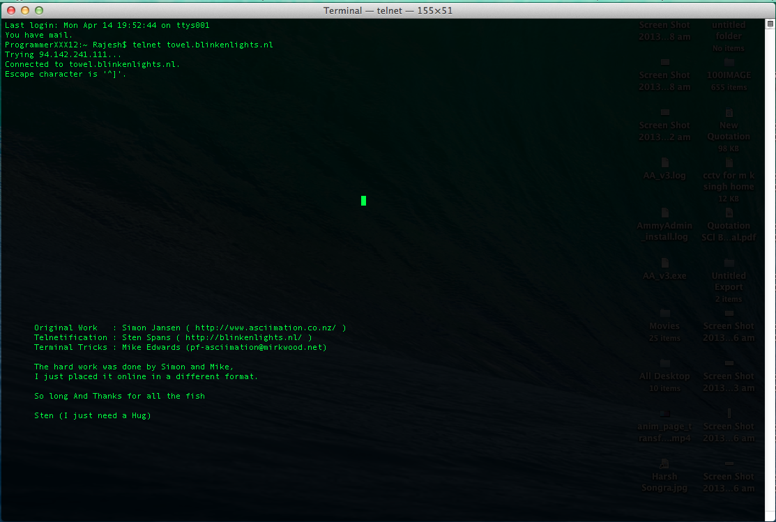 Starting and waiting for starwars in telnet