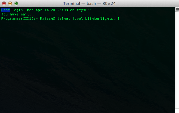 telnet towel.blinkenlights.nl on mac terminal
