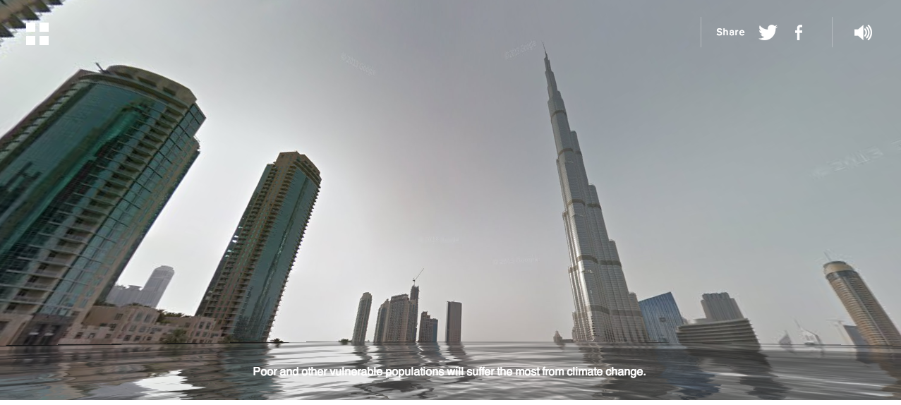 Street view flooded dubai