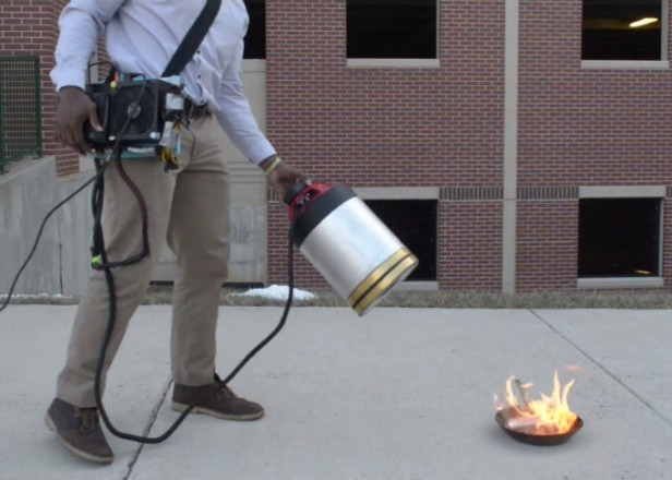 A fire extinguisher that uses sound waves